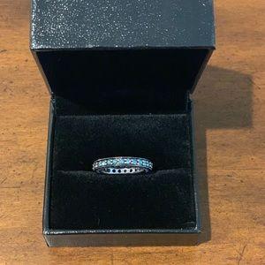 14K White Gold Blue Diamond Eternity Ring